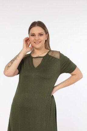 Womenice Kadın Haki Omuzları Önü Fileli Büyük Beden Elbise 1