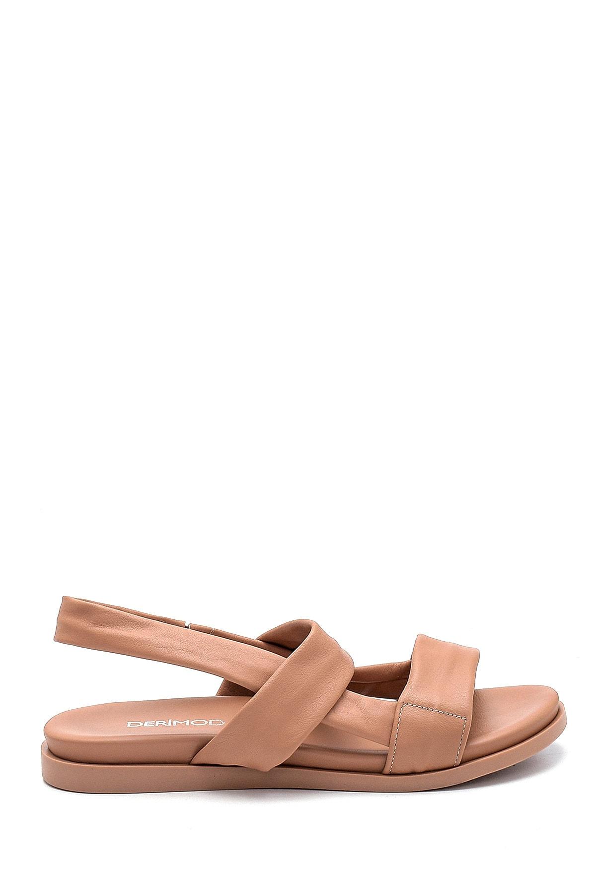 Kadın Bej Deri Sandalet