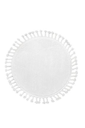 Dijidekor Beyaz Yuvarlak Post Dokuma Halı Saçaklı Peluş Halı Antibakteriyel 110x110 1