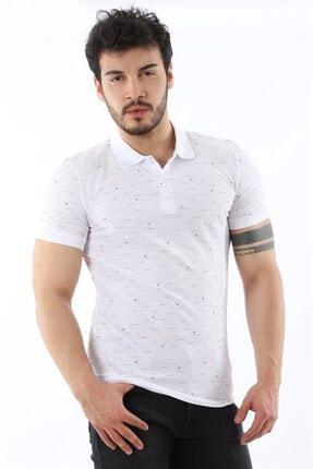 Arlin Erkek Polo Yaka Düğmeli Çizgi Yaprak Desenli Slim Fit Beyaz T-shirt 0