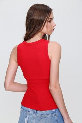 Trend Alaçatı Stili Kadın Kırmızı Önü Pencereli Fitilli Bluz ALC-X6140 2
