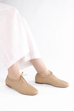 Marjin Kadın Bej Hakiki Deri Günlük Ayakkabı Burlas 3