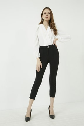 Vis a Vis Kadın Siyah Önü Biyeli Tokalı Pantolon 20KPA768K101 0