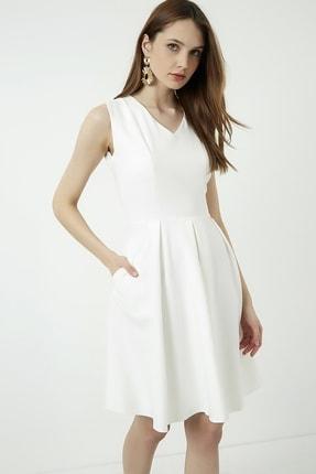 Vis a Vis Kadın Beyaz Kolsuz Kloş Elbise 1