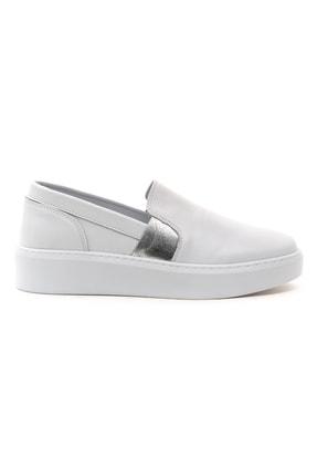 GRADA Kadın Sade Düz Beyaz Hakiki Deri Sneaker Ayakkabı 1