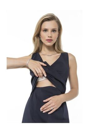 Accouchee Lacivert Kolay Emzirme Özellikli Şık Elbise 1