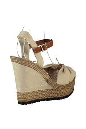 Fox Shoes Bej Kadın Dolgu Topuklu Ayakkabı 9674071005 2
