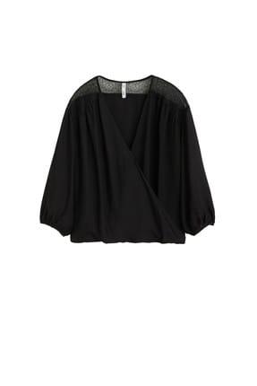 Mango Kadın Siyah Dantel Aplikeli Bluz 43027795 3