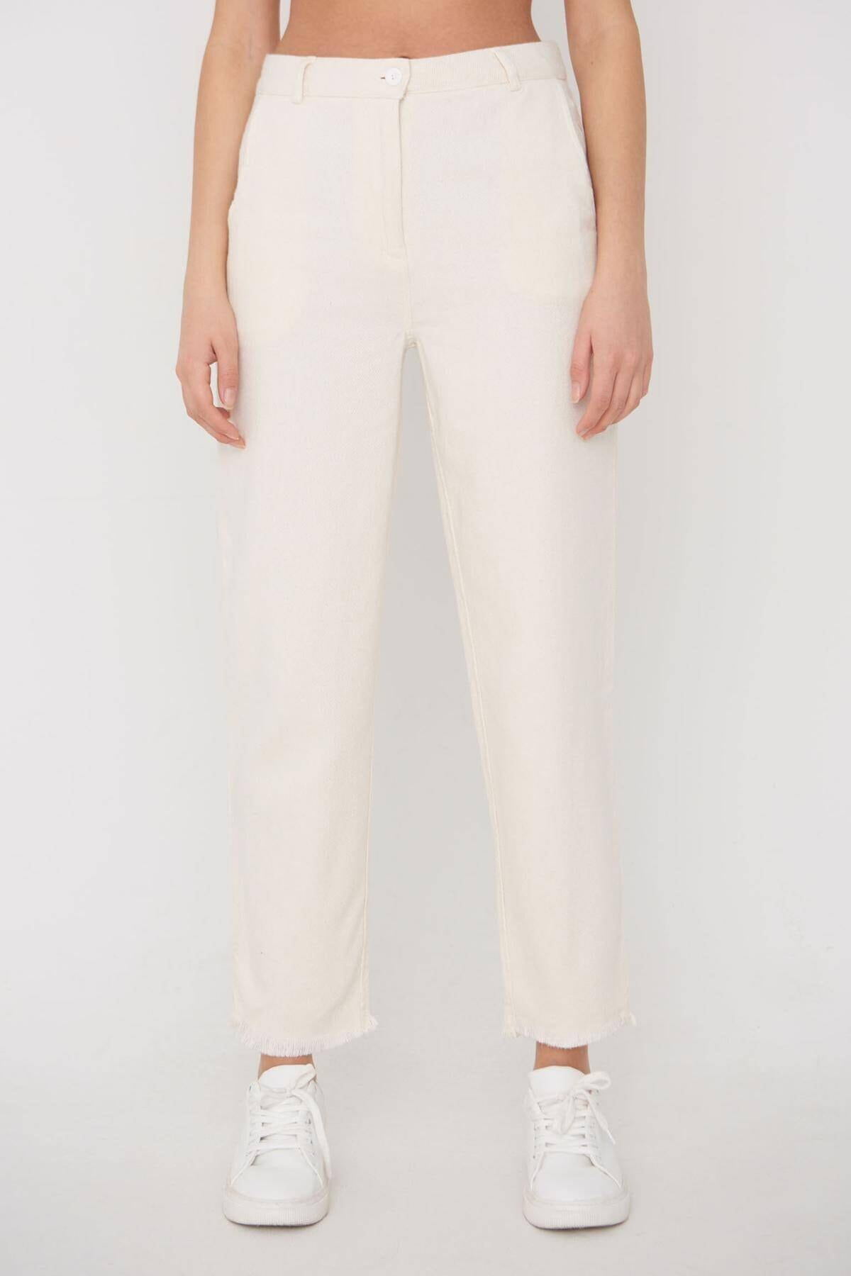Addax Kadın Ham Paça Detaylı Pantolon Pn11-0049 - K8 Adx-0000023876 2