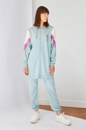 Trendyol Modest Mint Panelli Fermuarlı Örme Sweatshirt TCTSS21SW0340 3