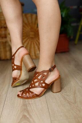 PUNTO Kadın Taba Topuklu Sandalet 1