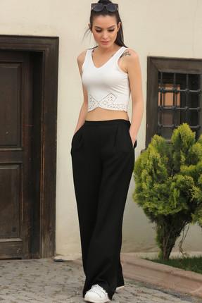 armonika Kadın Siyah Desenli Bol Pantolon ARM-17Y00047 1