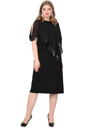 Angelino Kadın Siyah Payetli Uzun Abiye Elbise KL8022K 1