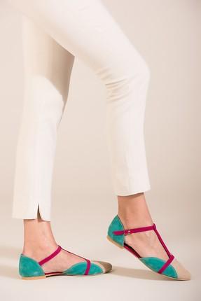Fox Shoes Ten Fuşya Yeşil Kadın Ayakkabı B726881802 0