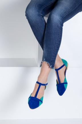 Fox Shoes Saks Mavi Su Yeşili Kadın Ayakkabı B726881802 0