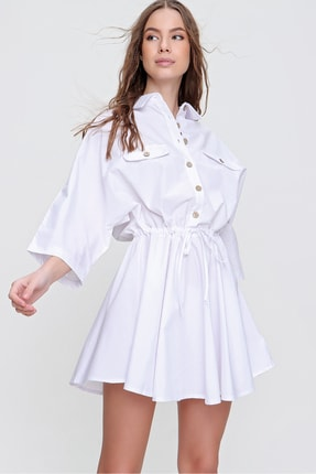 Trend Alaçatı Stili Kadın Beyaz Safari Dokuma Gömlek Elbise ALC-X6196 3