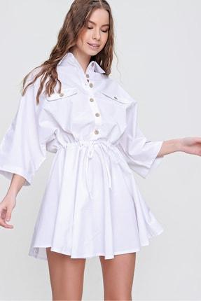 Trend Alaçatı Stili Kadın Beyaz Safari Dokuma Gömlek Elbise ALC-X6196 4