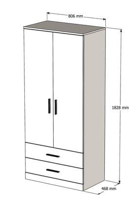 Bimossa K2225 Gardrop 2 Kapılı 2 Çekmeceli Askılı Elbise Dolabı Ceviz 3