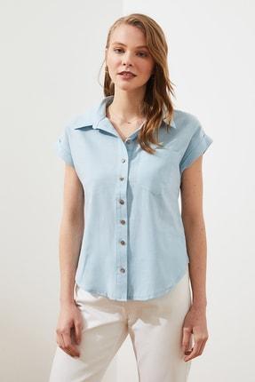 TRENDYOLMİLLA Mint Klasik Gömlek TWOAW20GO0081 3
