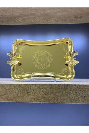 Glamour Home Kelebekli Desenli Tek Kişilik Kahve Sunumluk Metal Damat Söz Tepsisi Gold 2