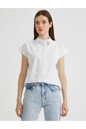 Koton Kadın Beyaz Gömlek Yaka Bluz 1