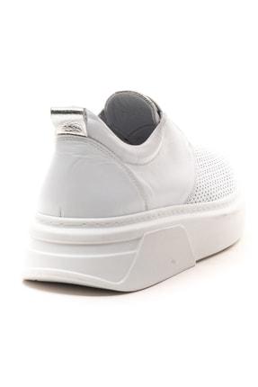 GRADA Beyaz Önden Lastikli  Hakiki Deri Sneaker Ayakkabı 4