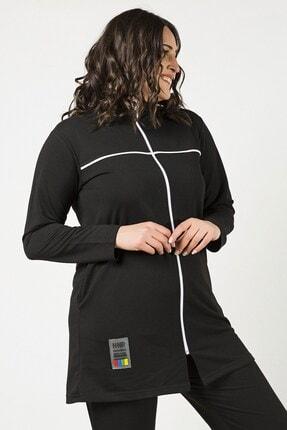Womenice Siyah Önü Fermuarlı Şeritli Takım 2