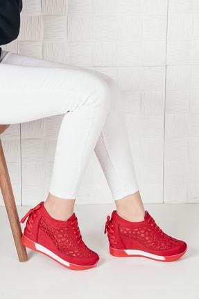 Weynes Kadın Kırmızı Süet Bağcıklı Yüksek Taban Gizli Topuk Spor Ayakkabı Ba20250 0