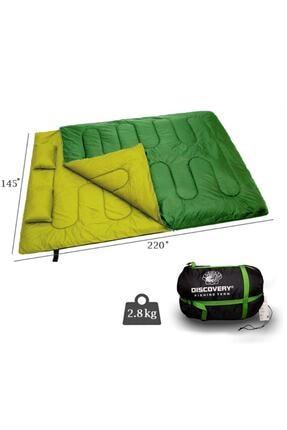 DFT Erciyes Outdoor Çift Kişilik (190+30)x145cm Yeşil -5° Uyku Tulumu Yastıklı 1