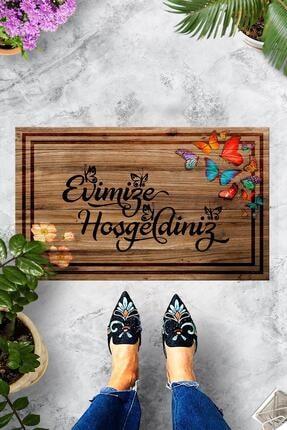Evsebu Pienso Home Evimize Hoşgeldiniz Tahta Desenli Kapı Önü Paspası 0