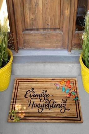 Evsebu Pienso Home Evimize Hoşgeldiniz Tahta Desenli Kapı Önü Paspası 1