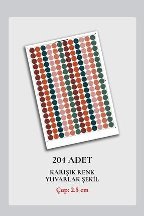 Norm Design 204 Adet Karışık Renkli Yuvarlak Duvar Stickerı 2