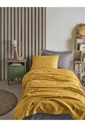 Enlora Home %100 Doğal Pamuk Pike Takımı Tek Kişilik Dide Sarı 2