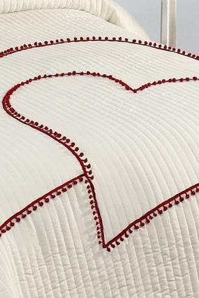 Evlen Home Kalbim Ponponlu Yatak Örtüsü Ç.k Krem 3