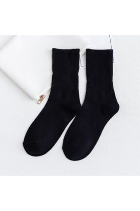 çorapmanya Siyah 6'lı Paket Çizgisiz Pamuklu Kolej Tenis Çorap 0