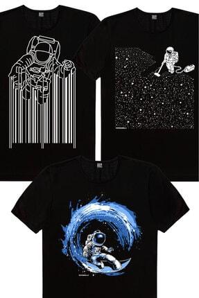 Rock & Roll Erkek Siyah Süpürgeli Astronot, Barkod Astronot, Galaktik Sörfcü 3'lü Eko Paket T-shirt 0