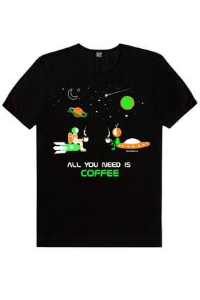 Rock & Roll Erkek Siyah Uzayda Kahve, Gitarcı Astronot, Sanırım Kaybolduk 3'lü Eko Paket T-shirt 1