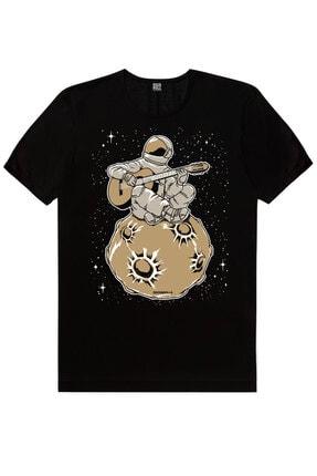 Rock & Roll Erkek Siyah Uzayda Kahve, Gitarcı Astronot, Sanırım Kaybolduk 3'lü Eko Paket T-shirt 2