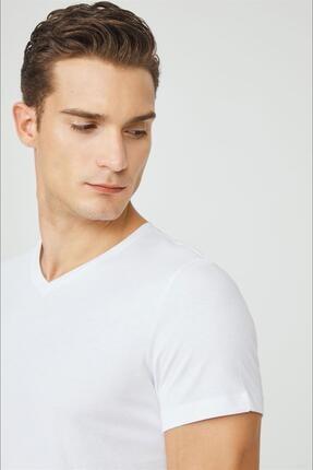 Avva Erkek Beyaz V Yaka Düz T-shirt E001001 1