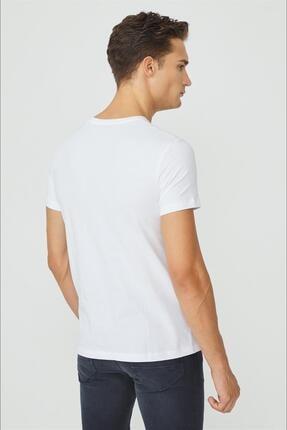 Avva Erkek Beyaz V Yaka Düz T-shirt E001001 2