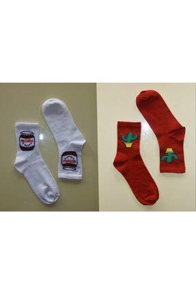 Çoraphane Unisex Karışık Desenli 10 Çift Renkli Kolej Çorabı 1