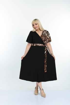 Şirin Butik Kadın Siyah Leopar Desenli Kruvaze Yaka Büyük Beden Elbise 3