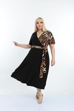 Şirin Butik Kadın Siyah Leopar Desenli Kruvaze Yaka Büyük Beden Elbise 4