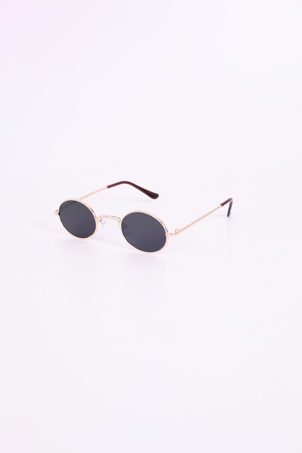 Vintage Oval Küçük Güneş Gözlüğü - Siyah Cam