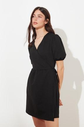 TRENDYOLMİLLA Siyah Kruvaze Yaka Örme Elbise TWOSS21EL0166 0