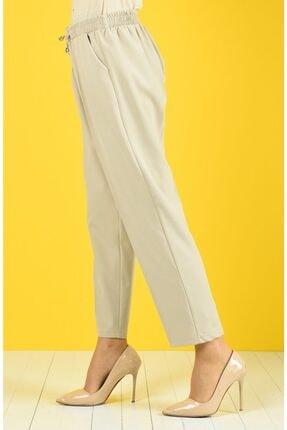 Essah Moda Kadın Ekru Lastikli Havuç Pantolon - Me000271 0