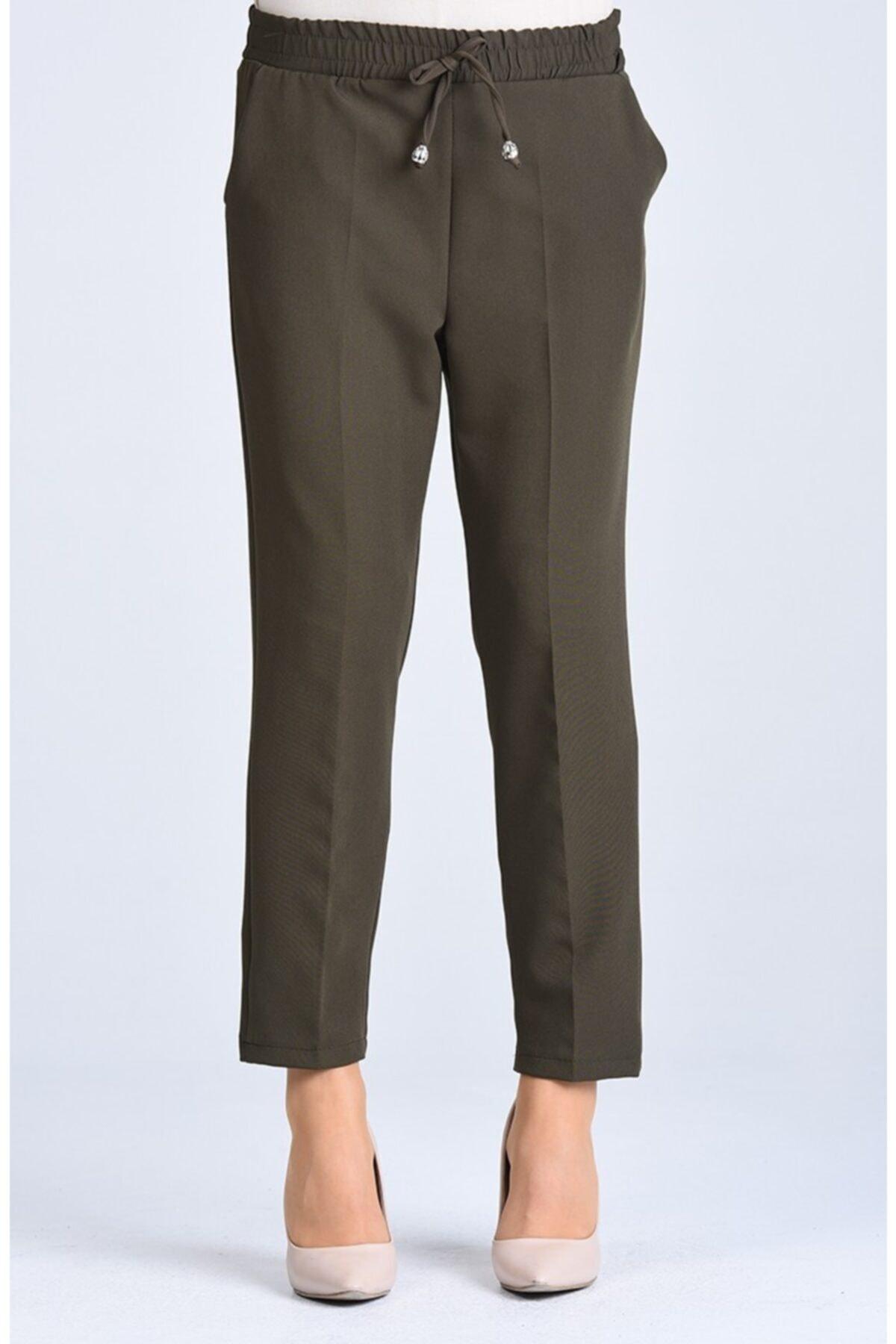 Kadın Haki Lastikli Havuç Pantolon - Me000272