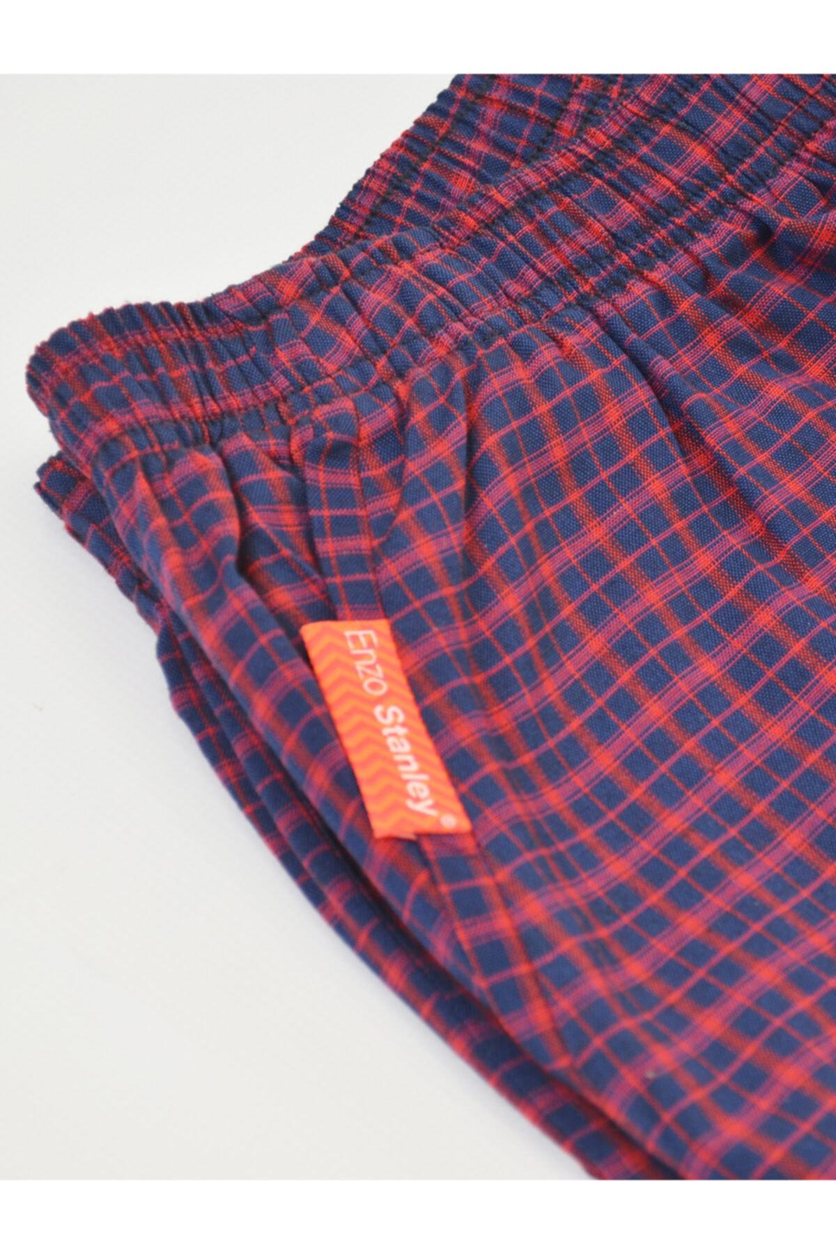 Enzo Stanley Erkek  Lacivert Kırmızı  Daily Kareli Pijama Altı