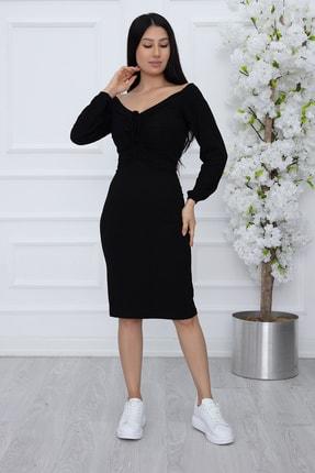 PULLIMM Kadın Siyah Göğüs Gipeli Kaşkorse Elbise 2666 1