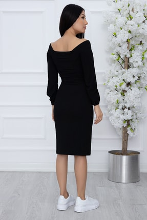 PULLIMM Kadın Siyah Göğüs Gipeli Kaşkorse Elbise 2666 2